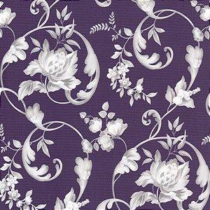 Papel de Parede Roxo com Desenho de Flores