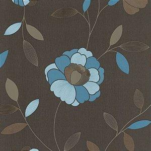 Papel de Parede com Flores Azuis