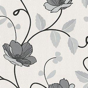 Papel de Parede Floral Preto e Cinza