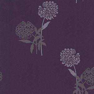 Papel de Parede Floral com fundo Roxo