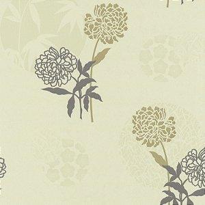 Papel de Parede Floral com fundo Verde