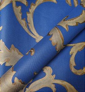 Papel de Parede Floral Azul com Dourado