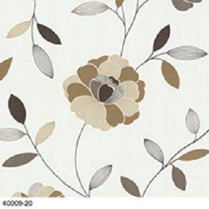 Papel De Parede Floral Bege e Marrom