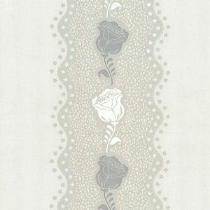 Papel De Parede Floral Cinza e Branco
