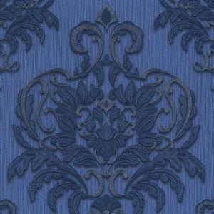 Papel de Parede Adamascado Azul com Brilho