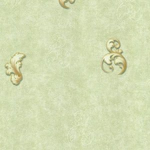 Papel de Parede com Ornamentos Verde Claro