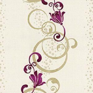 Papel de Parede Florido Rosa com Ondulações bege