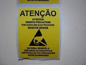 ETIQUETAS ADESIVAS DE ADVERTÊNCIA ESD (CENTO)