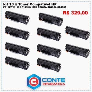 KIT 10 Toner Compatível HP P1102W M1132 P1005 M1120 CE285A CB435A CB436A