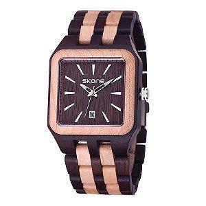 Relógio Masculino Skone Analógico Madeira 7398BG - MR