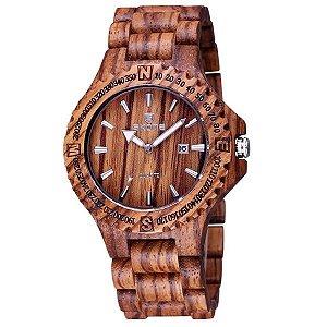 Relógio Masculino Skone Analógico Madeira 7397BG - MRC