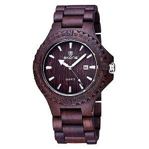 Relógio Masculino Skone Analógico Madeira 7397BR - MRE