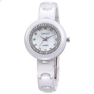 Relógio Feminino Weiqin Cerâmica Analógico W3210 Branco