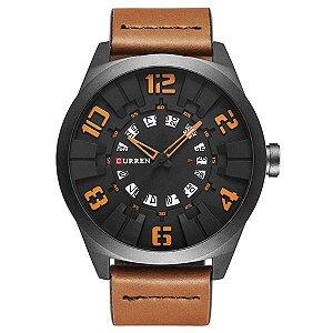 Relógio Masculino Curren Analógico 8258 Laranja