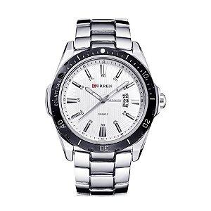 Relógio Masculino Curren Analógico 8110 Prata e Branco