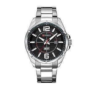 Relógio Masculino Curren Analógico 8271 Preto e Prata