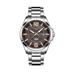 Relógio Masculino Curren Analógico 8271 Vinho e Prata
