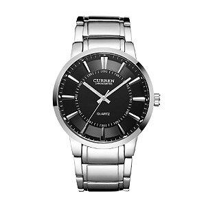 Relógio Masculino Curren Analógico 8001 Prata e Preto