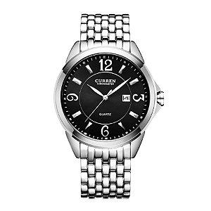 Relógio Masculino Curren Analógico 8071 Prata e Preto