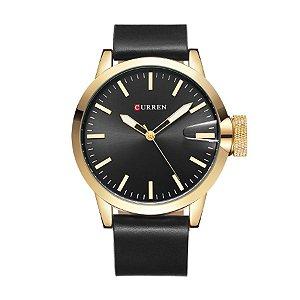 Relógio Masculino Curren Analógico 8208 Preto e Dourado