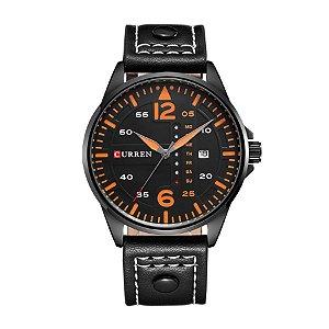 Relógio Masculino Curren Analógico 8224 Preto e Laranja