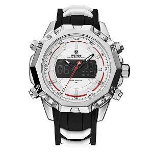 Relógio Masculino Weide Anadigi WH-6406 Prata e Branco