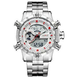 Relógio Masculino Weide Anadigi WH-6902 Prata/Branco