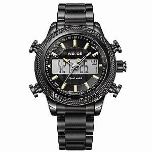 Relógio Masculino Weide Anadigi WH-3406 - Preto e Amarelo