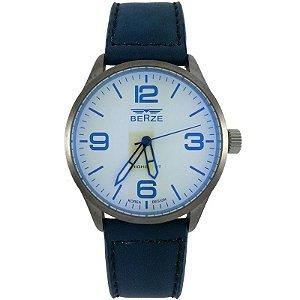 Relógio Masculino Analógico Social Berze BT168 Azul e Bege