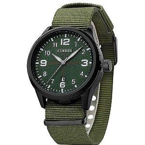 Relógio Masculino Curren Analógico 8195 Verde e Preto