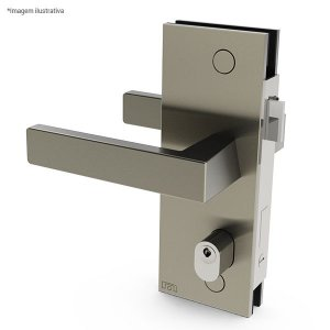 Ferragem 1520TA para vidro (fechadura com maçaneta) - aço inox