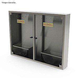 Caixa de hidrante com porta dupla de sobrepor, com suporte para mangueira - aço inox