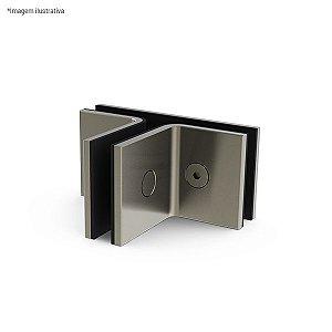 Ferragem 1307 para vidro (suporte central para união de 3 vidros) - aço inox