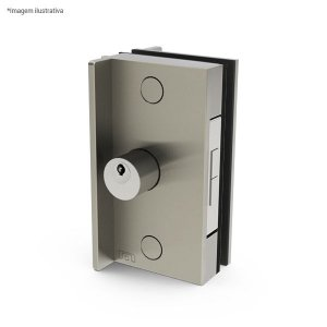 Ferragem 1510X para vidro (fechadura p/ porta de correr, com puxador) - aço inox