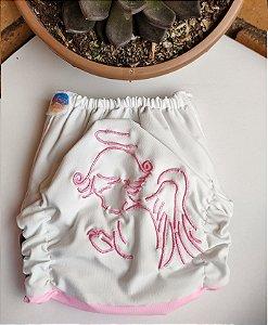 Fralda Santo Anjo Rosa - Nacional - Coleção Totus Tuus - Bordada - Elástico Caseado - Dryfit