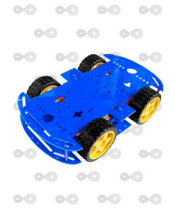 Kit Carro Robô Carrinho 4wd 80rpm Acrílico 3mm Azul