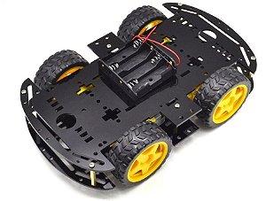 KIT CHASSI COM 4 RODAS 4WD - PRETO