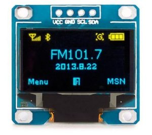 "DISPLAY LCD OLED I2C 0.96"" AZUL COM AMARELO Y/B SSD1306"