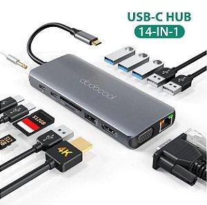 Hub Adaptador Usb-c 14 Em 1 Dodocool Dc74gy para Notebooks