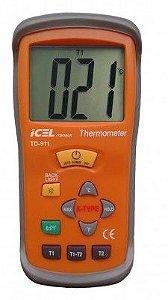 TERMÔMETRO DIGITAL ICEL MANAUS TD-911 DOIS CANAIS T1 E T2 ESCALA: DE -50º A 1.300ºC