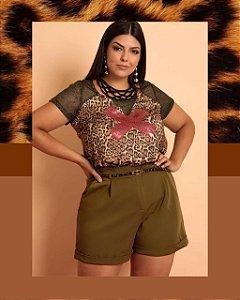T-Shirt Animal Print Maxi Plus Fashion 46