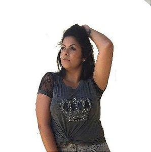 T-Shirt Plus Size Coroa Cinza Chumbo
