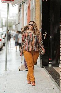 Calça Skinny Plus Size Predilect's Caramelo