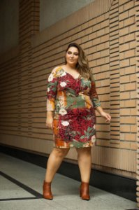 Vestido Canelado Mix de Estampas Plus Size