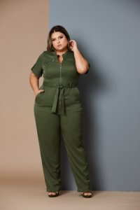 Macacão Mechanical Plus Size Verde Militar