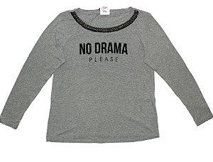 T-Shirt Plus Size No Drama Cinza Mescla