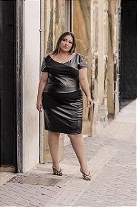 Vestido Midi Plus Size em Couro Eco