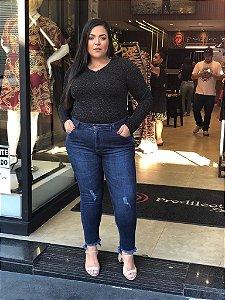 Blusa Preta Plus Size em Lurex