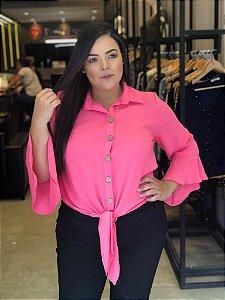 Camisa Lisa com Amarração Pink