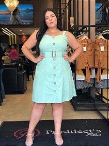 Vestido em Linho Plus Size Verde Acqua